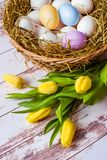 Holiday Easter. Congratulations on the spring holiday royalty free stock photos