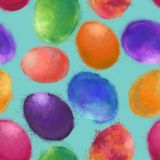 Easter Multicolored Eggs Seamless Pattern on Blue Sky Background. royalty free illustration