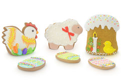 Easter multicoloured spice-cakes isolated on white background Stock Image