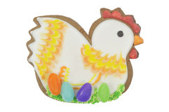 Easter multicoloured spice-cakes like hen isolated on white Royalty Free Stock Photo