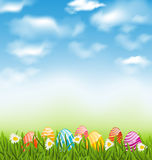 Easter natural landscape with traditional painted eggs in grass Stock Photo