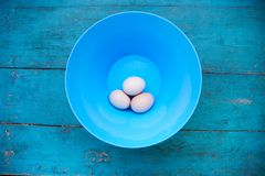 Easter - natural white eggs in a blue bowl Stock Photo