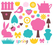 Cute spring and easter colorful design elements Royalty Free Stock Images