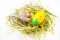 Easter nest. Painted yellow Easter Egg with bird in a nest on a white background Royalty Free Stock Photo