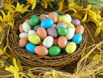 Easter Nest. Birds Nest with colorful candy Easter eggs Stock Image