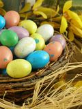 Easter Nest. Bird's nest with colorful candy eggs Royalty Free Stock Photography