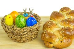 Easter nest with breaded yeast  bun Stock Photos