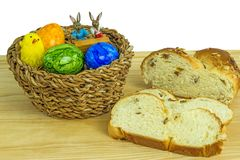 Easter nest with breaded yeast  bun Royalty Free Stock Photo