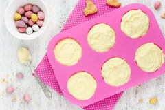 Easter nest cake cooking , Easter recipe step by step , preparat Royalty Free Stock Photos