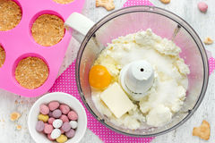 Easter nest cake cooking , Easter recipe step by step , preparat Stock Photos