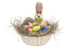 Easter Nest with Candy on white Royalty Free Stock Photography