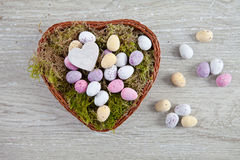 Easter nest with  eggs Stock Photos