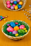 Easter Nest. With Colorful Eggs Stock Photos
