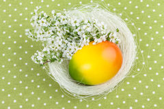 Easter Nest Decoration on Green Polka Dot Tablecloth Royalty Free Stock Image