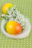 Easter Nest Decoration on Green Polka Dot Tablecloth Stock Photos