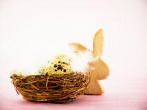 Easter nest and easter bunny. Behind in wonderful colors Stock Photography