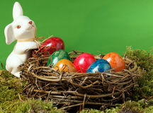 An Easter nest with an Easter hare Royalty Free Stock Photo