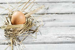 Easter nest, egg in straw Stock Photo