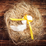 Easter nest with Egg, yellow ribbon and white feather on wooden Stock Images