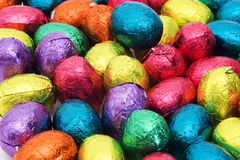 Easter nest with eggs. Easter nest with colorful chocolate eggs royalty free stock photography