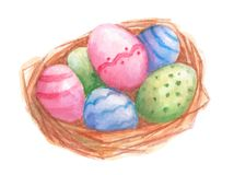Easter nest with eggs. Watercolor Stock Images