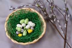 Easter Nest. With eggs and willow catkin Royalty Free Stock Image