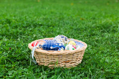 Easter nest. An esaster nest with some colorful eggs in the green grass Stock Photography