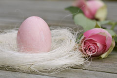 Easter nest with rose and egg in pink Royalty Free Stock Photos