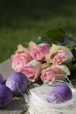 Easter nest and roses Royalty Free Stock Photos