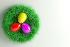 Easter Nest with three colorful Eggs. 3d illustration; Easter Nest with three colorful Eggs Royalty Free Stock Images