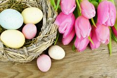 Easter nest on wooden background Stock Photo