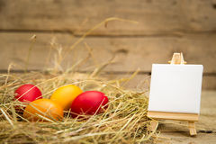 Easter nest with yellow and red eggs Royalty Free Stock Images