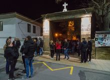 Easter night at the monastery of St. George in Pomorie, Bulgaria Royalty Free Stock Images