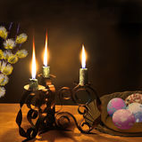 Easter night and symbols of Great  Resurrection of Jesus. Stock Images