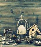 Easter nostalgic home decoration. Still life with eggs Stock Photos