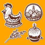 Easter objects stickers collection. Stock Images