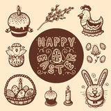 Easter objects vintage collection. Royalty Free Stock Photography