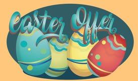 Easter Offer Advertising Banner with Eggs vector illustration