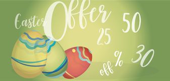 Easter Offer Advertising Banner with  Eggs and Percent Off. Easter Offer Advertising Banner with Colorful Eggs and Percent Off stock photography