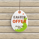 Easter Offer Egg Price Sticker Wood Stock Images