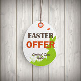 Easter Offer Egg Price Sticker Wooden Wall Stock Photos