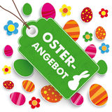 Easter Offer Price Sticker White. German text Oster-Angebot, translate Easter Offer Stock Image