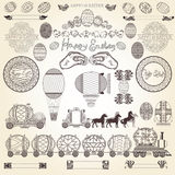Easter old engraving banner element Royalty Free Stock Photos