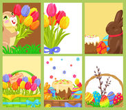 Easter Openings Chocolate Bunny Colored Egg Tulips Stock Photo