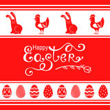 Easter ornamental greeting card. Vector illustrations of Easter ornamental greeting card with hens, bunny and eggs Stock Photos