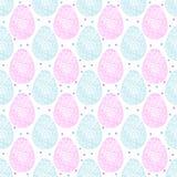 Easter ornate eggs. Vector seamless pattern of Easter pink and blue ornate eggs vector illustration