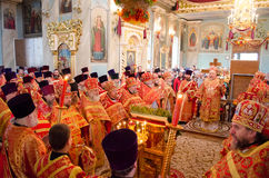 Easter Orthodox religious procession in the city of Gomel on 13 April 2015. Royalty Free Stock Photo