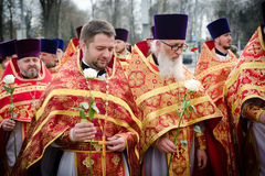 Easter Orthodox religious procession in the city of Gomel on 13 April 2015. Royalty Free Stock Images