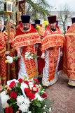 Easter Orthodox religious procession in the city of Gomel on 13 April 2015. Royalty Free Stock Photography