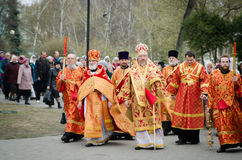 Easter Orthodox religious procession in the city of Gomel on 13 April 2015. Stock Photo